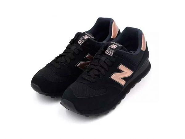 Zapatillas-N-Balance-574-Mujer-Negro-Dorado-Tenis-mod-2019 moda